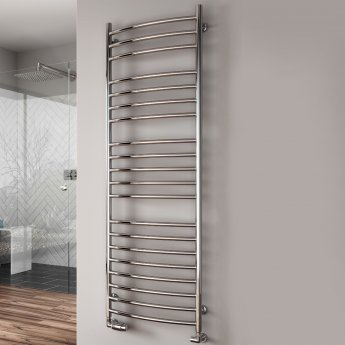 Reina Eos Curved Heated Towel Rail 430mm H x 600mm W Polished Stainless Steel
