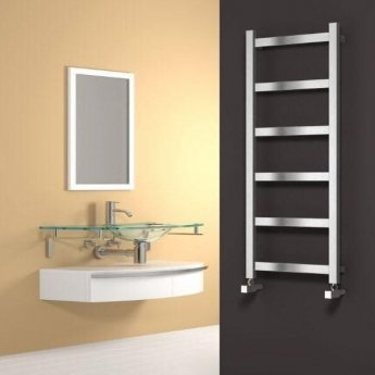 Reina Mina Square Tube Heated Towel Rail 750mm H x 480mm W Polished Stainless Steel