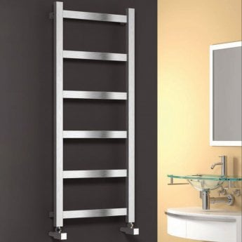 Reina Mina Square Tube Heated Towel Rail 750mm H x 470mm W Brushed Stainless Steel