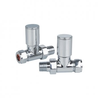 Reina Portland Straight Radiator Valves Pair 15mm - Chrome