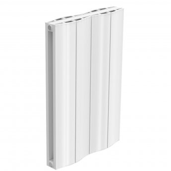 Reina Wave Double Horizontal Aluminium Radiator 600mm H x 412mm W White