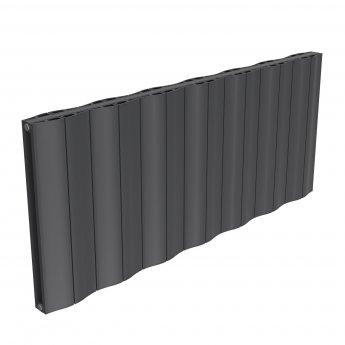 Reina Wave Double Horizontal Aluminium Radiator 600mm H x 1452mm W Anthracite