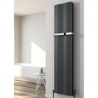 Reina Wave Double Vertical Aluminium Radiator 1800mm H x 204mm W Anthracite