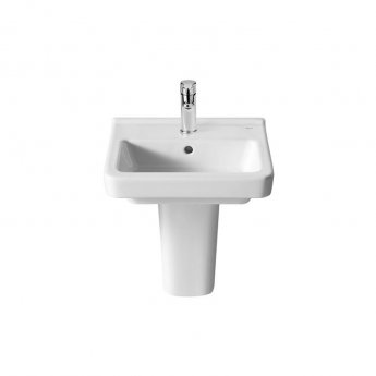 Roca Dama-N Compact Basin and Semi Pedestal, 400mm Wide, 1 Tap Hole