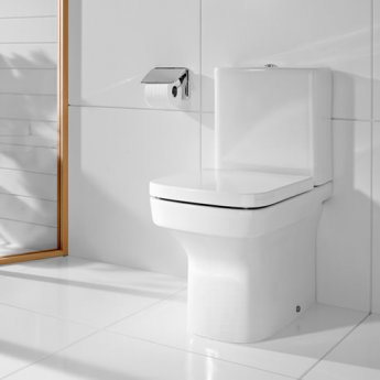 Roca Dama-N Flush-to-Wall Toilet with Dual Outlet Push Button Cistern, Standard Seat
