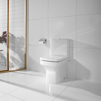 Roca Dama-N Flush-to-Wall Toilet with Dual Outlet Push Button Cistern, Soft Close Seat