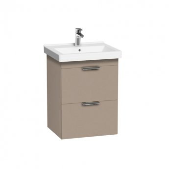 Roca Dama-N Wall Hung 2-Drawer Vanity Unit with Basin 550mm Wide - Matt Cashmere