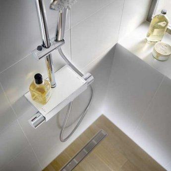 Roca Deck Square Bar Mixer Shower with Shower Kit + Fixed Head