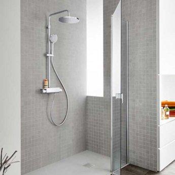 Roca Deck Round Bar Mixer Shower with Shower Kit + Fixed Head