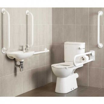 Roca Laura Access Doc M Pack with Close Couple Toilet and Basin - White