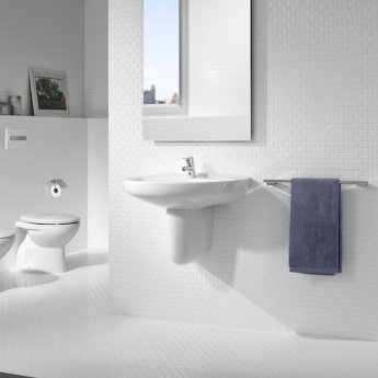 Roca Laura Basin with Semi Pedestal, 450mm Wide, 1 Tap Hole