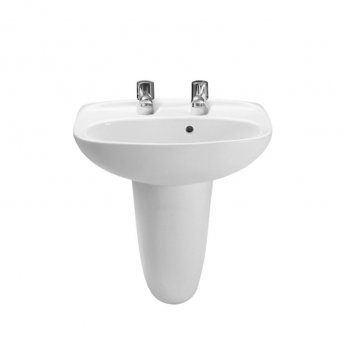 Roca Laura Basin with Semi Pedestal, 450mm Wide, 2 Tap Hole