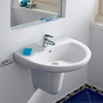 Roca Laura Basin with Semi Pedestal, 600mm Wide, 1 Tap Hole