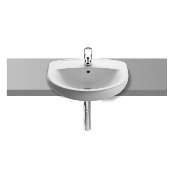 Roca Laura Semi-Recessed Basin, 400mm Wide, 1 Tap Hole