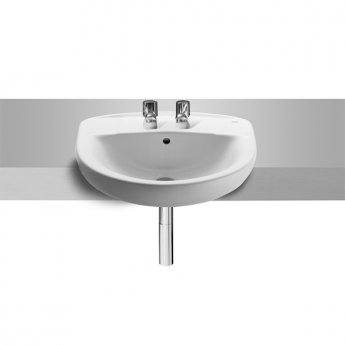 Roca Laura Semi-Recessed Basin, 510mm Wide, 2 Tap Hole