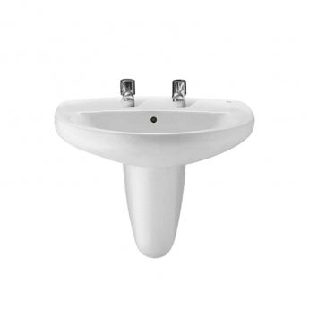 Roca Laura Basin with Semi Pedestal, 520mm Wide, 2 Tap Hole