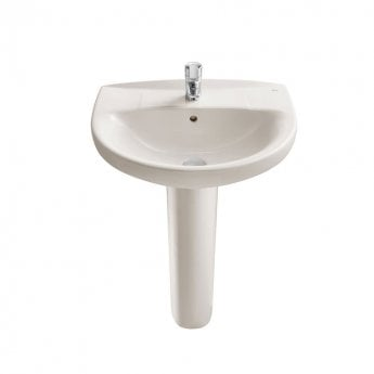 Roca Laura Eco Full Pedestal Basin with Basin Mixer With Pop Up Waste 560mm W - 1 Tap Hole