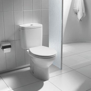 Roca Laura Close Coupled Toilet, Push Button Cistern, Soft Close Seat, White
