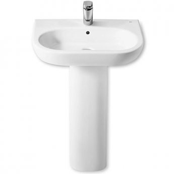 Roca Meridian-N Basin and Full Pedestal, 600mm Wide, 1 Tap Hole
