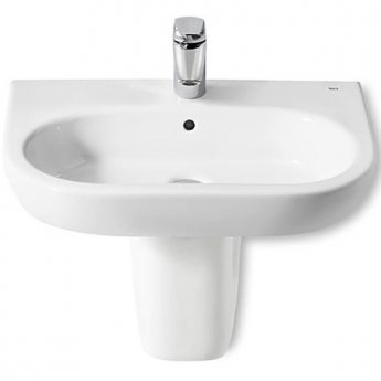Roca Meridian-N Basin and Semi Pedestal, 550mm Wide, 1 Tap Hole