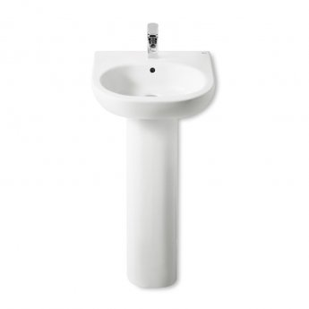 Roca Meridian-N Basin and Full Pedestal, 500mm Wide, 1 Tap Hole