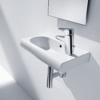 Roca Meridian-N Compact Wall Hung Basin, 600mm Wide, 1 RH Tap Hole