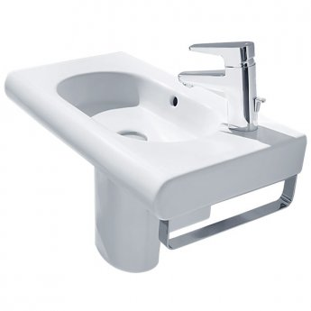 Roca Meridian-N Compact Basin and Semi Pedestal, 350mm Wide, 1 RH Tap Hole