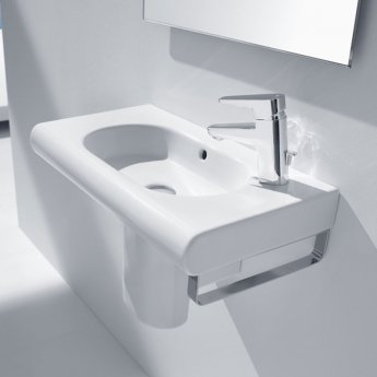 Roca Meridian-N Compact Basin and Semi Pedestal, 600mm Wide, 1 RH Tap Hole