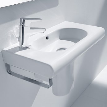 Roca Meridian-N Compact Wall Hung Basin, 550mm Wide, 1 LH Tap Hole