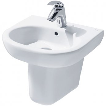Roca Meridian-N Cloakroom Basin and Semi Pedestal, 450mm Wide, 1 Tap Hole
