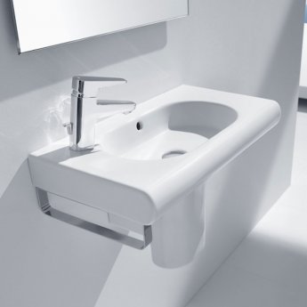 Roca Meridian-N Compact Basin and Semi Pedestal, 550mm Wide, 1 LH Tap Hole