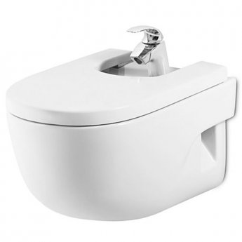 Roca Meridian-N Wall Hung Bidet with Soft Close Seat 560mm Projection - 1 Tap hole