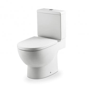 Roca Meridian-N Eco Close Coupled Toilet with Dual Outlet Push Button Cistern, Soft Close Seat