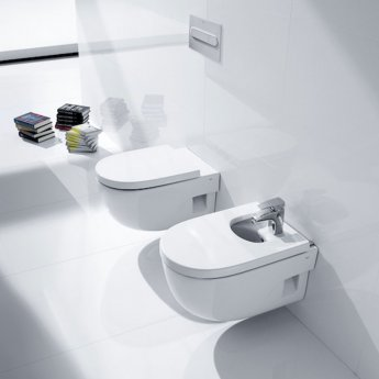 Roca Meridian-N Compact Wall Hung Toilet, 480mm Projection, Soft Close Seat