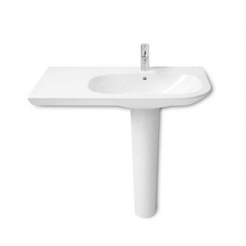 Roca Nexo Asymmetrical Left Handed Basin & Full Pedestal 900mm Wide 1 Tap Hole