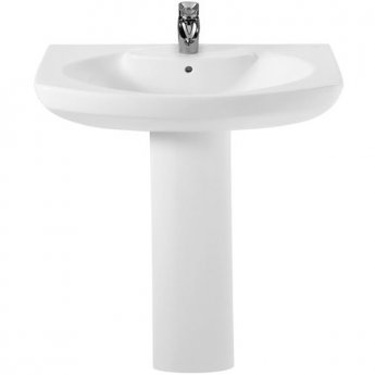 Roca Senso Basin and Full Pedestal, 800mm Wide, 1 Tap Hole