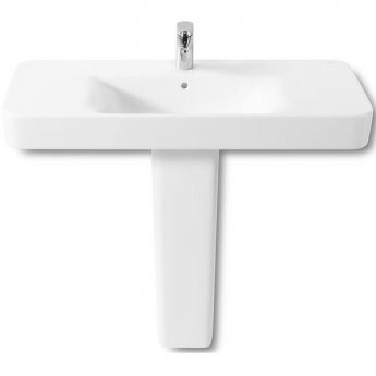 Roca Senso Square Basin and Full Pedestal, 850mm Wide, 1 Tap Hole