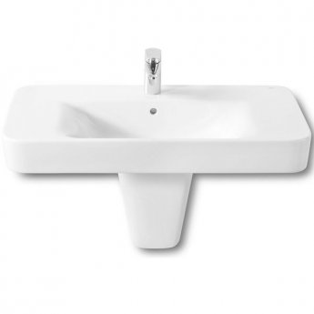 Roca Senso Square Basin and Semi Pedestal, 850mm Wide, 1 Tap Hole