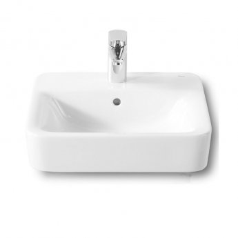 Roca Senso Square Basin and Semi Pedestal, 450mm Wide, 1 Tap Hole