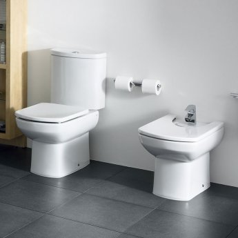 Roca Senso Close Coupled Toilet with Dual Outlet Push Button Cistern, Standard Seat