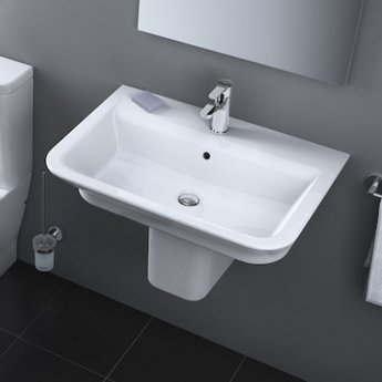 Roca The Gap Basin and Semi Pedestal, 600mm Wide, 1 Tap Hole