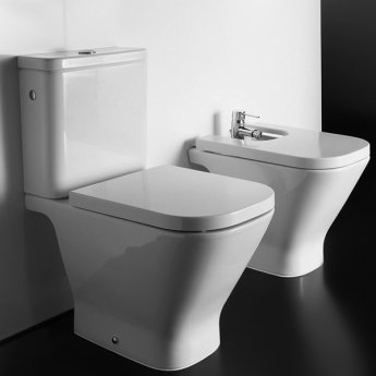 Roca The Gap Close Coupled Toilet, Push Button Cistern, Soft Close Seat