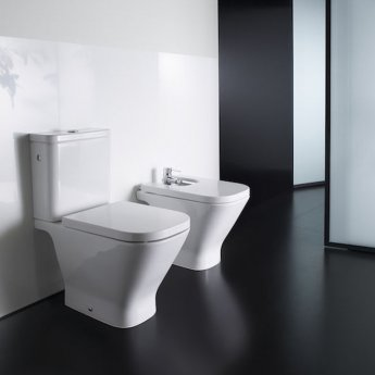 Roca The Gap Round Rimless Close Coupled WC Dual Outlet Pan 655mm Projection - White