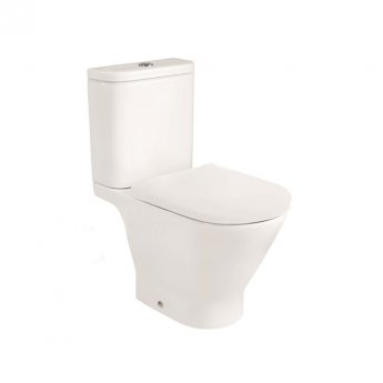 Roca The Gap Round Rimless Close Coupled Toilet with Push Button Cistern - Soft Close Seat