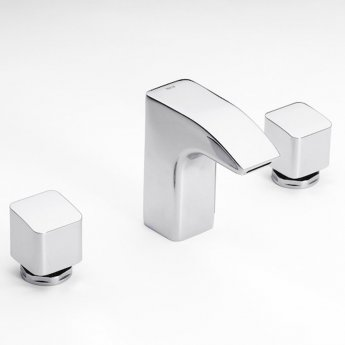 Roca Thesis 3 Hole Deck Mounted Basin Mixer Tap with Pop Up Waste - Chrome