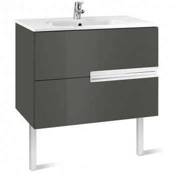 Roca Victoria-N Unik 2-Drawers Vanity Unit with Basin 1000mm Wide Gloss Grey 1 Tap Hole