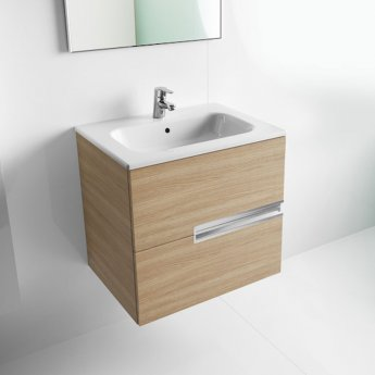 Roca Victoria-N Unik 2-Drawers Vanity Unit with Basin 1000mm Wide Textured Oak 1 Tap Hole