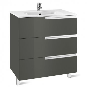Roca Victoria-N Unik 3-Drawers Vanity Unit with Basin 700mm Wide Gloss Grey 1 Tap Hole