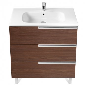 Roca Victoria-N Unik 3-Drawers Vanity Unit with Basin 1000mm Wide Textured Wenge 1 Tap Hole