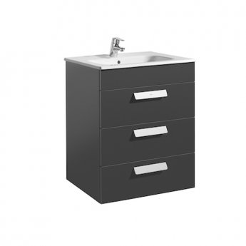 Roca Debba Wall Hung 3-Drawer Vanity Unit with Square Basin 600mm Wide - Gloss Anthracite Grey